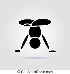 Handstand pose yoga black icon on gray background