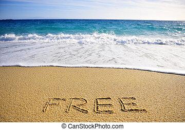 handstil, strand, gratis, underteckna
