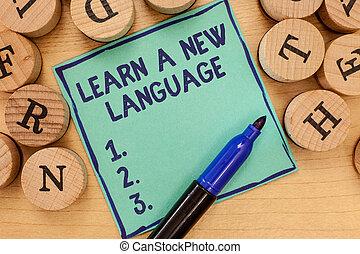 handstil, text, erfara, a, färsk, language., begrepp, betydelse, studera, ord, annat, än, den, inföding, mor, tunga