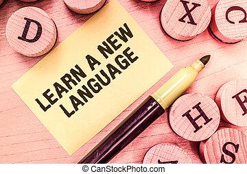 handstil, text, skrift, erfara, a, färsk, language., begrepp, betydelse, studera, ord, annat, än, den, inföding, mor, tunga