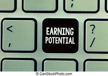 handstil, text, skrift, förtjäna, potential., begrepp, betydelse, topp, lön, för, a, detalj, fält, eller, professionell, jobb