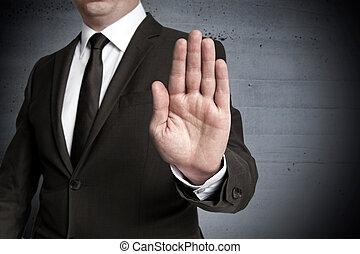 Handstop showed by businessman