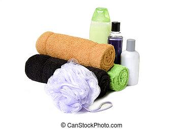 handtücher, und, bad, füllen