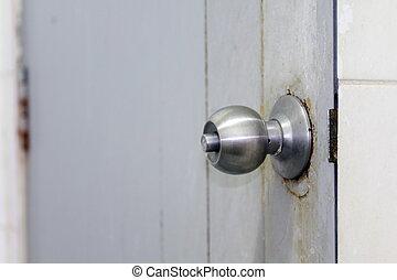 handtag, dörr, rostfritt stål, dörr hantera, gammal