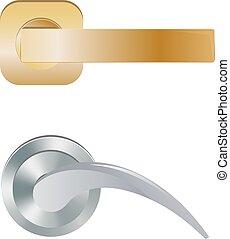 handtag, hänrycka, sätta, dörr, bakgrund, door-handle, låsa, vektor, dörrknopp, isolerat, illustration, inre, metall, design, dörrar, hus, door-knob, hem, vit