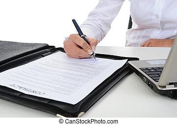 handtekening, van, de, contracteren