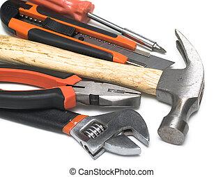 Set of handtools: hammer, cutter, spanner, screwdriver, wrench