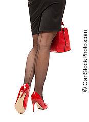 handväska, ben, kvinnlig