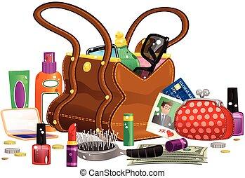 handväska, innehåll, womans