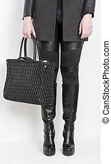 handväska, stövel, fashionabel, svart
