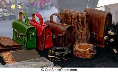 handväskor, läder, färg, kvinnor, bakgrund, isolerat, svart