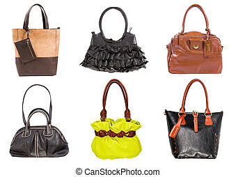 handväskor, läder, spridd färg, bakgrund, vit, kvinnor