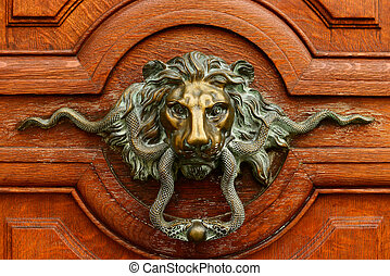 handvat, gouden, oud, deur