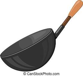 handvat, houten, beeld, utensils., kitchen., accessoire, achtergrond., vector, black , illustratie, het braden, witte , keuken, spotprent, pan, liggen
