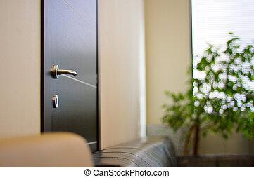 handvat, kantoor, metaal, op einde, deur