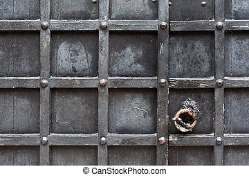 handvat, oud, communie, deur