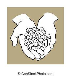 handvol, pillen, twee, cupped, stapel, holdingshanden, geneeskunde