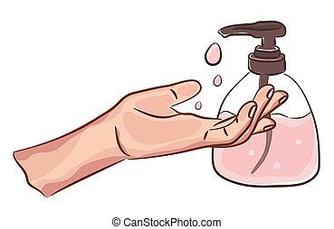 handwashing., personal, desinfección, manos, dibujo, piel, hygiene., sanitizer, care., ilustración, limpio, soap., lavado