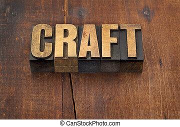 handwerk, wort, in, holz, art