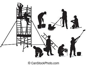 handwerker, gerüstbau