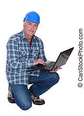 handwerker, größer, mit, laptop