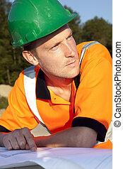 handwerker, het kijken, bouwsector, bouwschets, straat