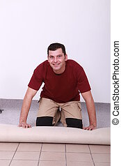 handwerker, liegende , teppich