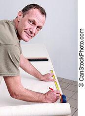 handwerker, messen, tapete