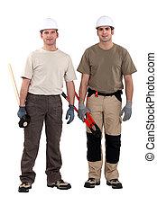handwerker, posierend, zusammen
