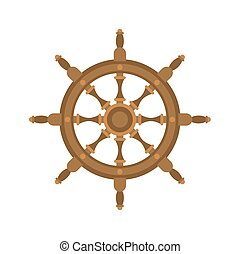 Handwheel isolated. Rudderl ship on white background