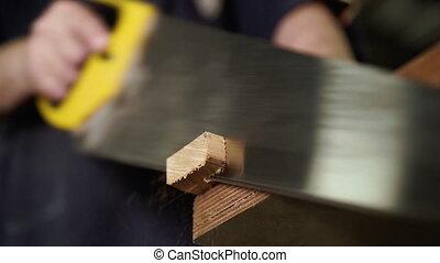 Handwork concept, woodworking workshop. ?arpenter saws ...