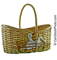handwoven basket - handcrafted basket with geese isolated