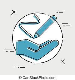Handwrite concept - Minimal vector icon