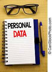 Handwriting Announcement text showing Personal Data. Business concept for Digital Protection Written on tablet laptop, wooden background with sticky note, coffee and pen