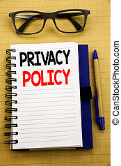 Handwriting Announcement text showing Privacy Policy. Business concept for Safety Data Rules Written on tablet laptop, wooden background with sticky note, coffee and pen