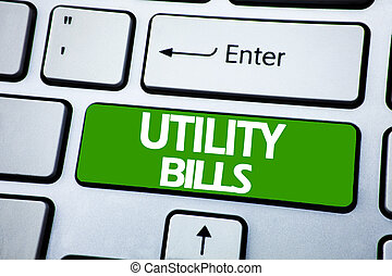 Handwriting Announcement text showing Utility Bills. Business concept for Money Bill Payment written on blue key on the keybord background.