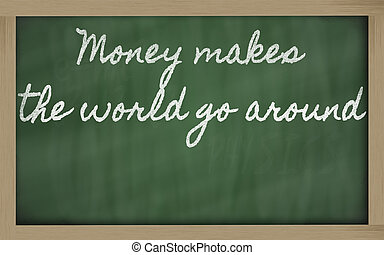 handwriting blackboard writings - Money makes the world go...