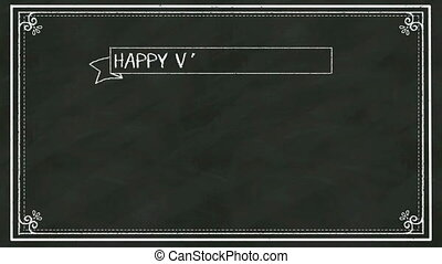 Handwriting concept of 'HAPPY VALENTINE'S DAY' at chalkboard.blackboard. 2