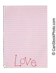Handwriting love word on pink note paper