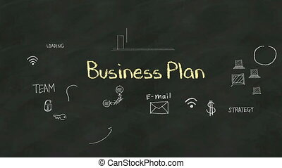 Handwriting concept of 'Business Plan' at chalkboard. with various diagram.