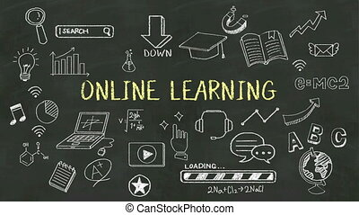 Handwriting 'Online Learning' - Handwriting concept of...