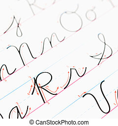 Handwriting practice. - Close up of cursive handwriting ...