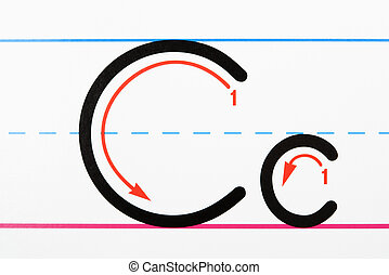 Handwriting practice. - Close up of letter C handwriting...