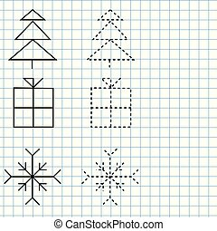Handwriting practice sheet. Educational children game, printable worksheet for kids. Tracing lines and shapes. New year and Christmas theme