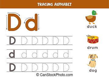 Handwriting practice with alphabet letter. Tracing D.