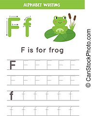 Handwriting practice with alphabet letter. Tracing F.