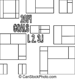 Handwriting text 2019 Goals 1 2 3. Concept meaning Resolution Organize Beginnings Future Plans.