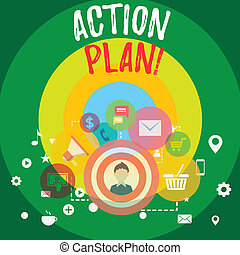 Handwriting text Action Plan. Concept meaning proposed strategy or course of actions for certain time photo of Digital Marketing Campaign Icons and Elements for Ecommerce.
