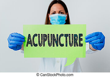 Handwriting text Acupuncture. Concept meaning system of integrative medicine involve pricking skin with needle Laboratory technician featuring empty sticker paper accessories smartphone.