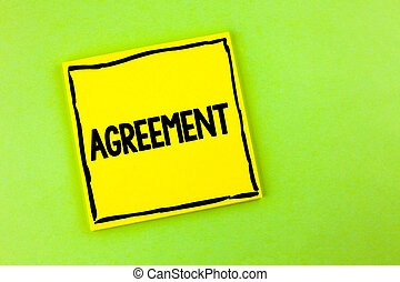 Handwriting text Agreement. Concept meaning Business or personal closures made easy with better guidance written on Yellow Sticky Note Paper on the plain background.